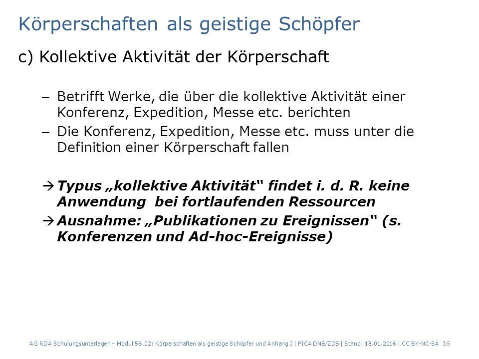 Körperschaften als geistige Schöpfer c) Kollektive Aktivität der Körperschaft – Betrifft Werke, die über die kollektive Aktivität einer Konferenz, Expedition, Messe etc.