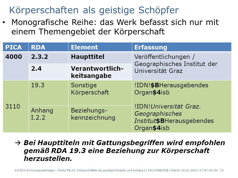 Körperschaften als geistige Schöpfer Monografische Reihe: das Werk befasst sich nur mit einem Themengebiet der Körperschaft AG RDA Schulungsunterlagen