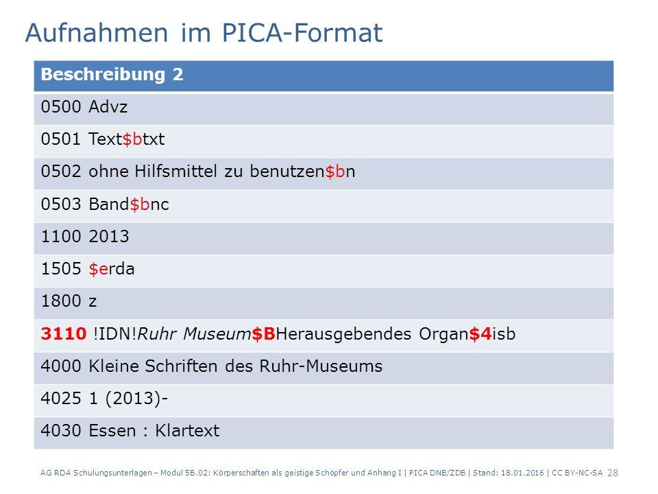 Aufnahmen im PICA-Format AG RDA Schulungsunterlagen – Modul 5B.02: Körperschaften als geistige Schöpfer und Anhang I | PICA DNB/ZDB | Stand: 18.01.201