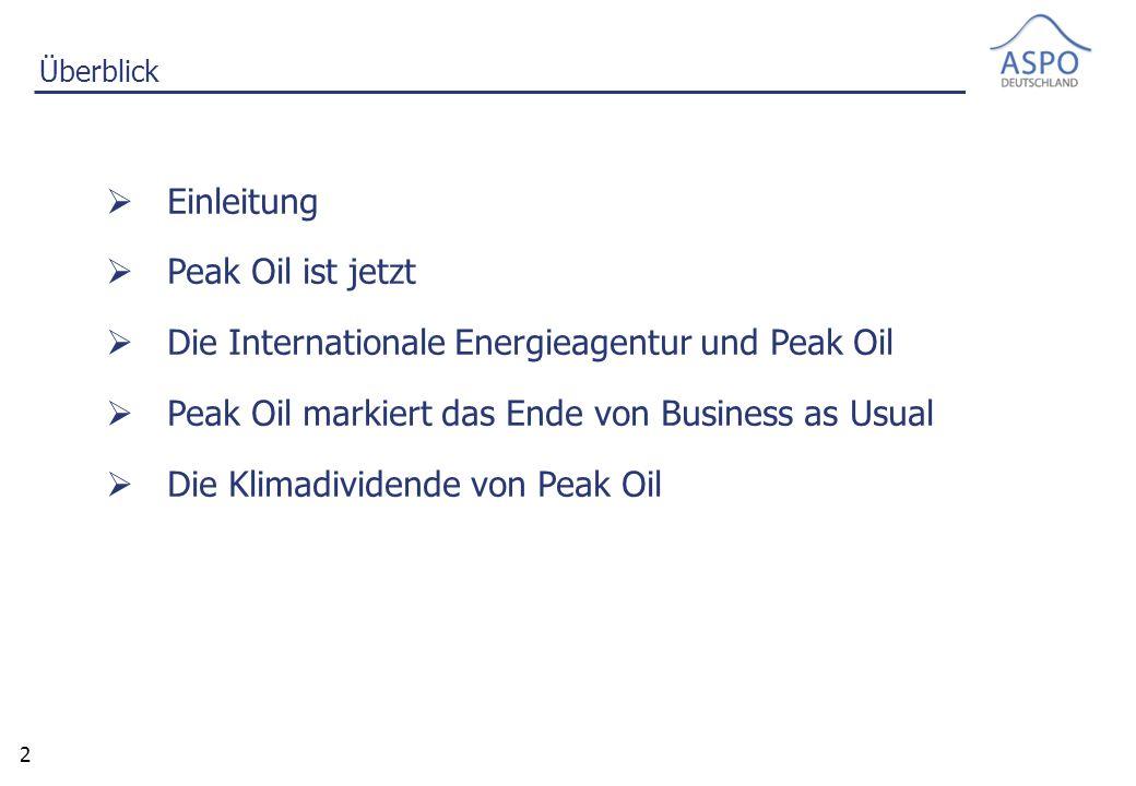 2 Überblick  Einleitung  Peak Oil ist jetzt  Die Internationale Energieagentur und Peak Oil  Peak Oil markiert das Ende von Business as Usual  Die Klimadividende von Peak Oil