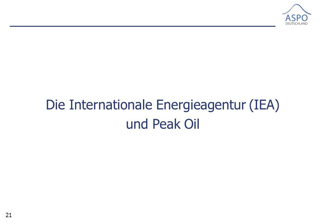 21 Die Internationale Energieagentur (IEA) und Peak Oil