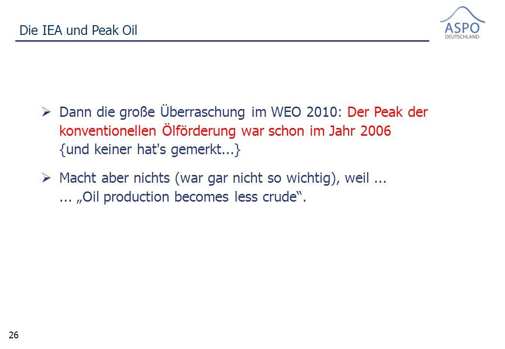 26 Die IEA und Peak Oil  Dann die große Überraschung im WEO 2010: Der Peak der konventionellen Ölförderung war schon im Jahr 2006 {und keiner hat s gemerkt...}  Macht aber nichts (war gar nicht so wichtig), weil......