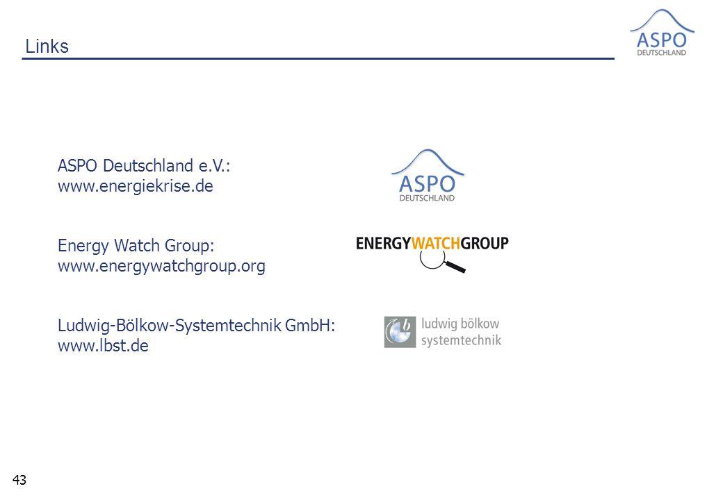 43 Links ASPO Deutschland e.V.: www.energiekrise.de Energy Watch Group: www.energywatchgroup.org Ludwig-Bölkow-Systemtechnik GmbH: www.lbst.de