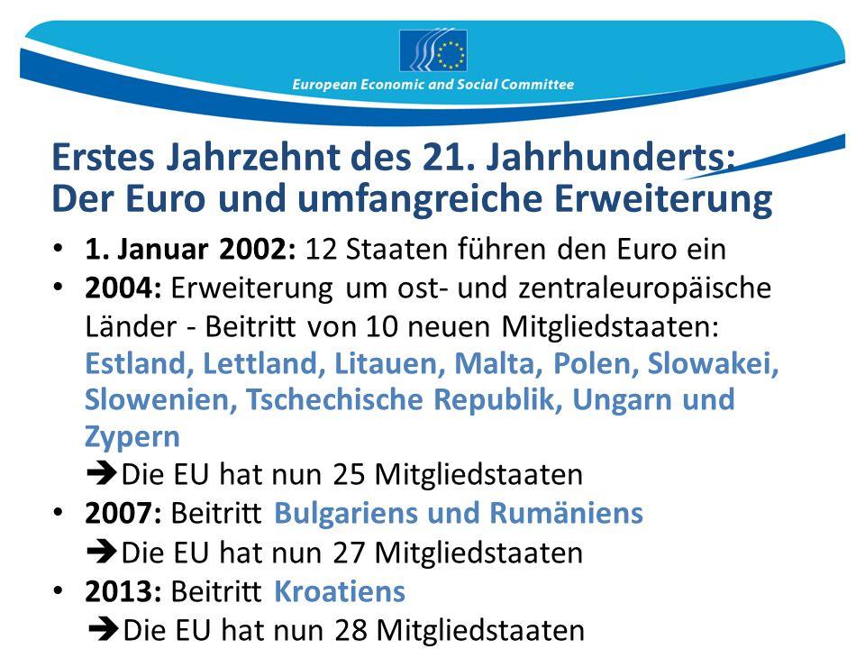 Erstes Jahrzehnt des 21. Jahrhunderts: Der Euro und umfangreiche Erweiterung 1.