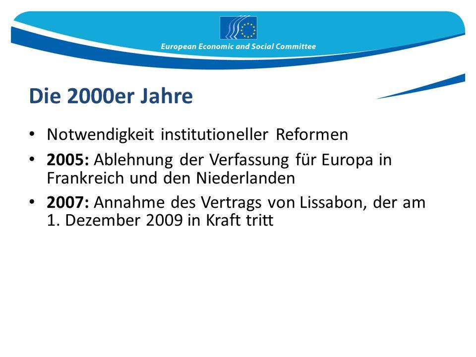 Die 2000er Jahre Notwendigkeit institutioneller Reformen 2005: Ablehnung der Verfassung für Europa in Frankreich und den Niederlanden 2007: Annahme des Vertrags von Lissabon, der am 1.