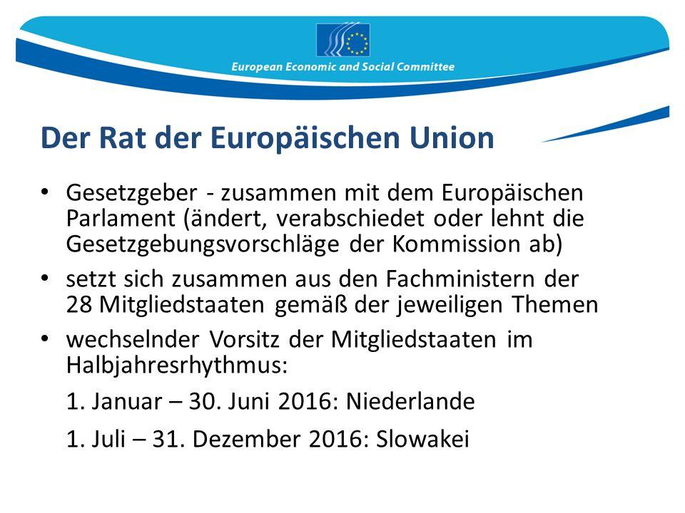 Der Rat der Europäischen Union Gesetzgeber - zusammen mit dem Europäischen Parlament (ändert, verabschiedet oder lehnt die Gesetzgebungsvorschläge der Kommission ab) setzt sich zusammen aus den Fachministern der 28 Mitgliedstaaten gemäß der jeweiligen Themen wechselnder Vorsitz der Mitgliedstaaten im Halbjahresrhythmus: 1.