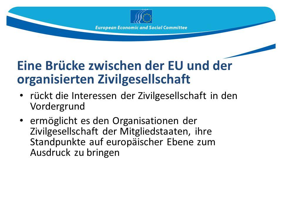 Eine Brücke zwischen der EU und der organisierten Zivilgesellschaft rückt die Interessen der Zivilgesellschaft in den Vordergrund ermöglicht es den Organisationen der Zivilgesellschaft der Mitgliedstaaten, ihre Standpunkte auf europäischer Ebene zum Ausdruck zu bringen