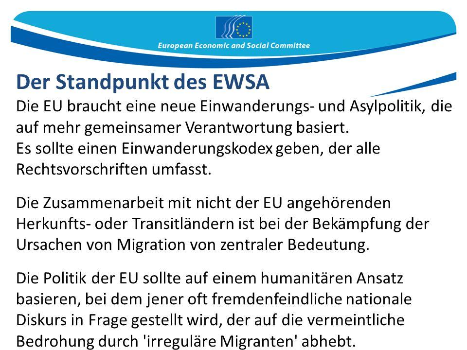 Der Standpunkt des EWSA Die EU braucht eine neue Einwanderungs- und Asylpolitik, die auf mehr gemeinsamer Verantwortung basiert.