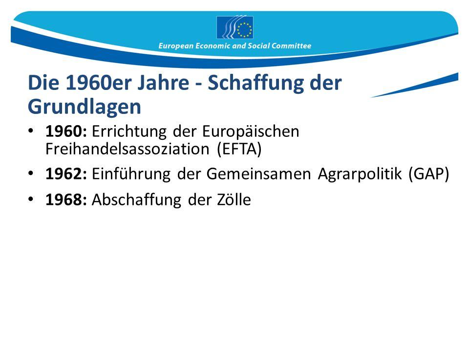 Die 1960er Jahre - Schaffung der Grundlagen 1960: Errichtung der Europäischen Freihandelsassoziation (EFTA) 1962: Einführung der Gemeinsamen Agrarpolitik (GAP) 1968: Abschaffung der Zölle