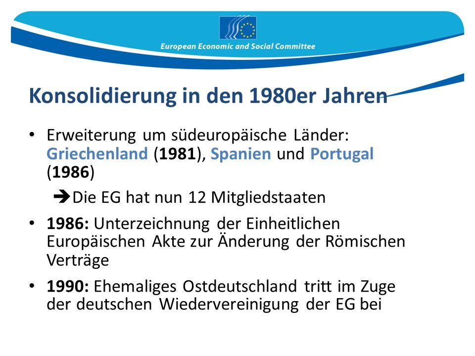 Konsolidierung in den 1980er Jahren Erweiterung um südeuropäische Länder: Griechenland (1981), Spanien und Portugal (1986)  Die EG hat nun 12 Mitgliedstaaten 1986: Unterzeichnung der Einheitlichen Europäischen Akte zur Änderung der Römischen Verträge 1990: Ehemaliges Ostdeutschland tritt im Zuge der deutschen Wiedervereinigung der EG bei