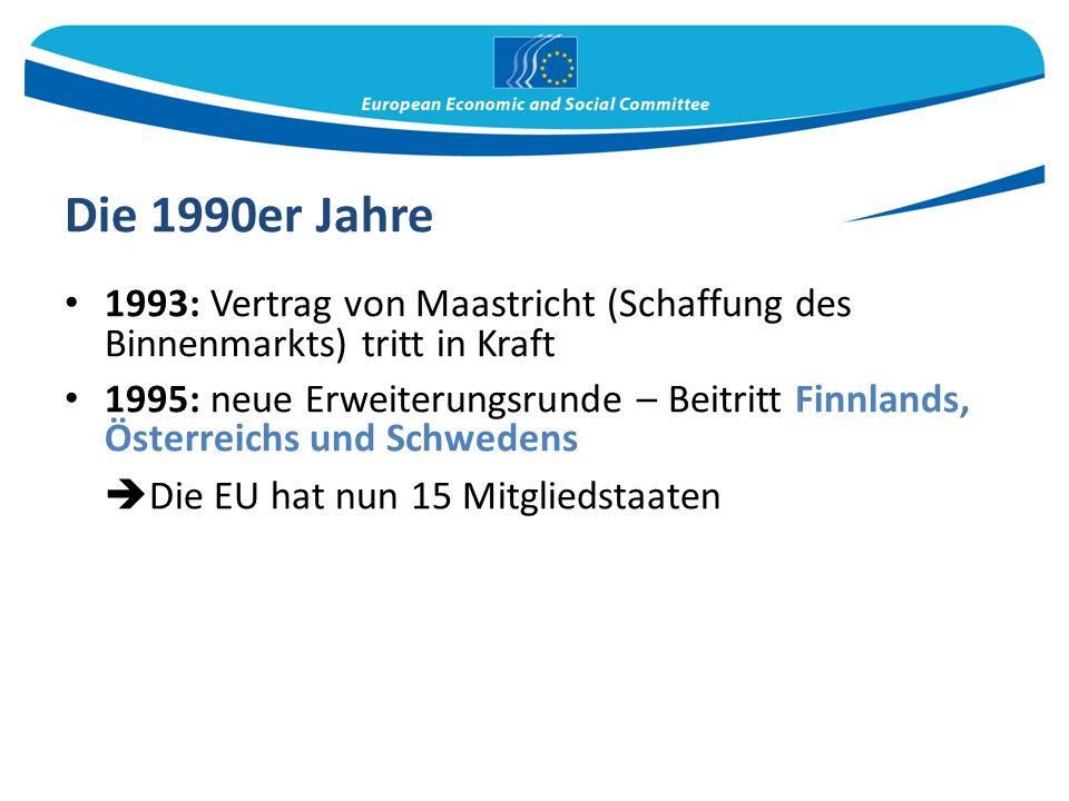 Die 1990er Jahre 1993: Vertrag von Maastricht (Schaffung des Binnenmarkts) tritt in Kraft 1995: neue Erweiterungsrunde – Beitritt Finnlands, Österreichs und Schwedens  Die EU hat nun 15 Mitgliedstaaten