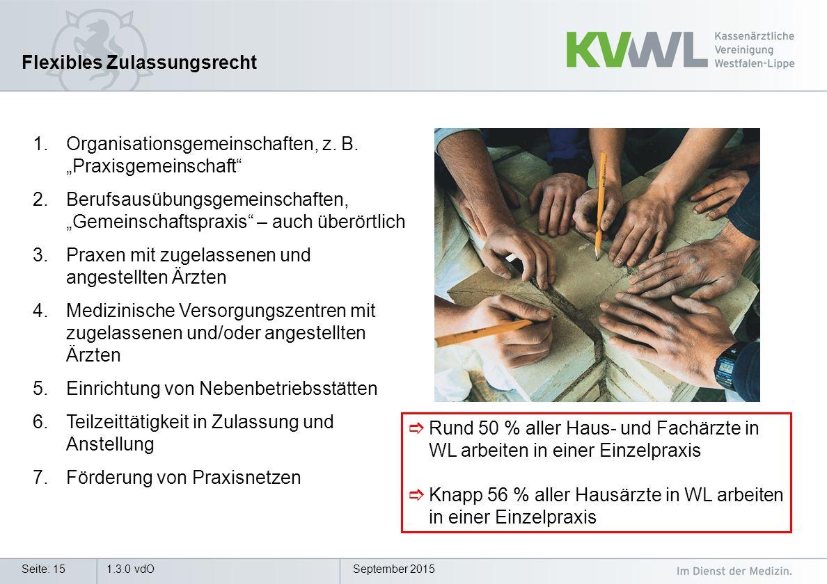 September 20151.3.0 vdOSeite: 15 Flexibles Zulassungsrecht 1.Organisationsgemeinschaften, z.