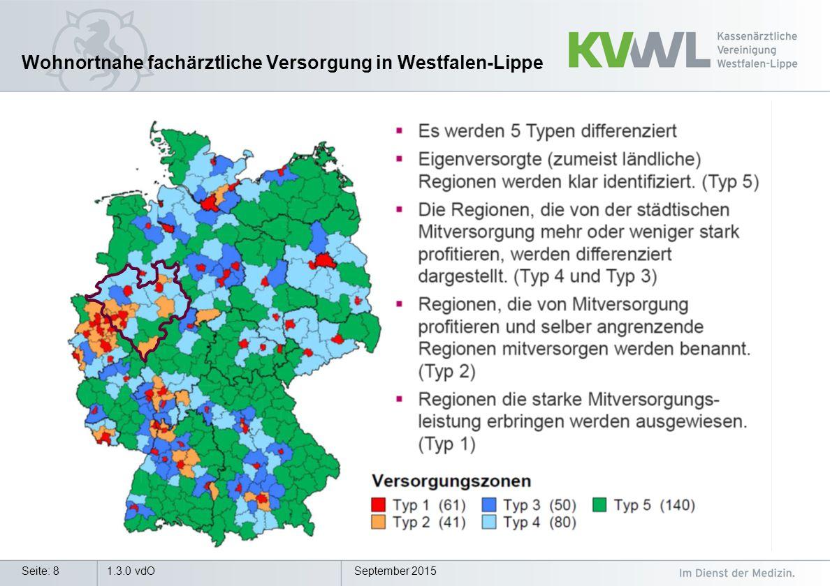 September 20151.3.0 vdOSeite: 8 Wohnortnahe fachärztliche Versorgung in Westfalen-Lippe