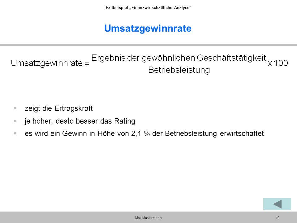 """Fallbeispiel """"Finanzwirtschaftliche Analyse Max Mustermann10 Umsatzgewinnrate  zeigt die Ertragskraft  je höher, desto besser das Rating  es wird ein Gewinn in Höhe von 2,1 % der Betriebsleistung erwirtschaftet"""