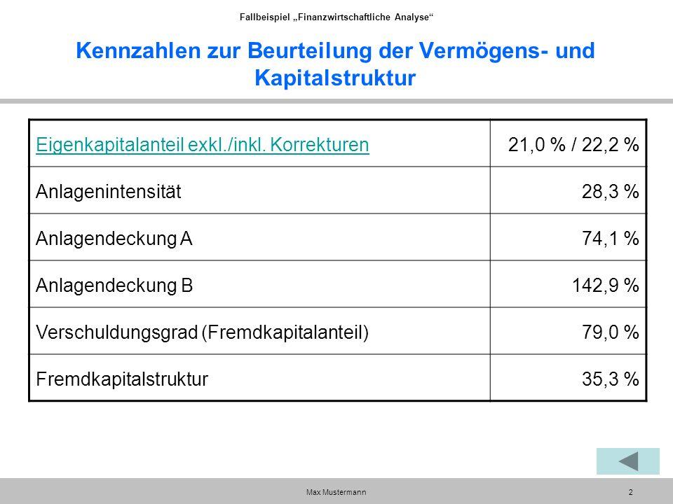 """Fallbeispiel """"Finanzwirtschaftliche Analyse Max Mustermann2 Kennzahlen zur Beurteilung der Vermögens- und Kapitalstruktur Eigenkapitalanteil exkl./inkl."""