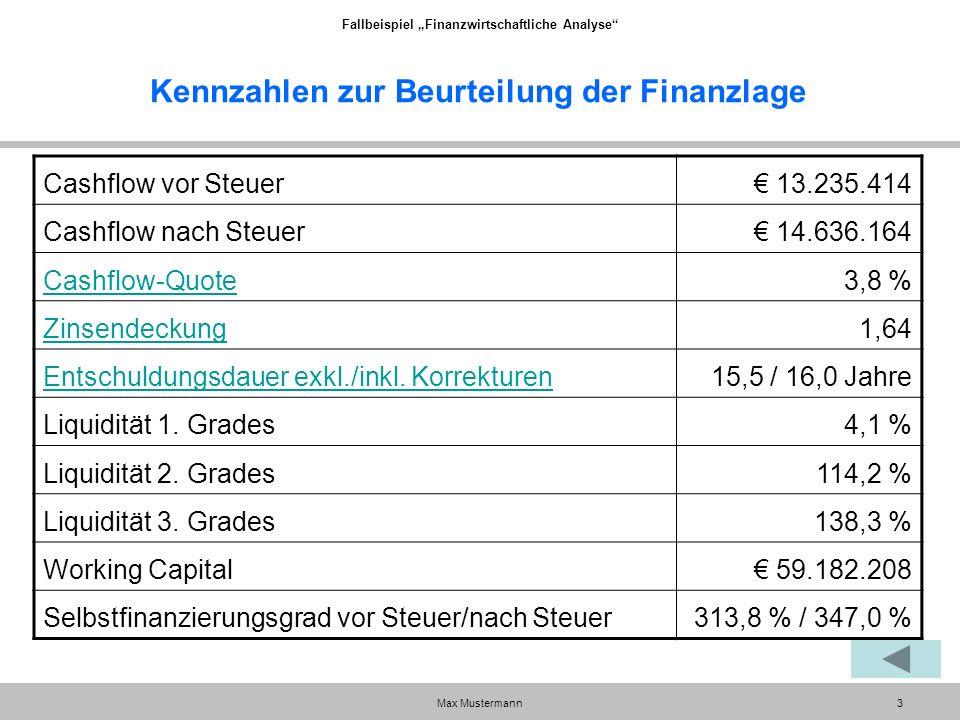 """Fallbeispiel """"Finanzwirtschaftliche Analyse Max Mustermann3 Kennzahlen zur Beurteilung der Finanzlage Cashflow vor Steuer€ 13.235.414 Cashflow nach Steuer€ 14.636.164 Cashflow-Quote3,8 % Zinsendeckung1,64 Entschuldungsdauer exkl./inkl."""
