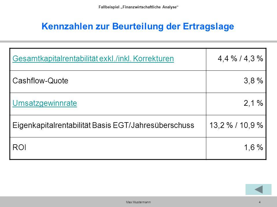 """Fallbeispiel """"Finanzwirtschaftliche Analyse Max Mustermann4 Kennzahlen zur Beurteilung der Ertragslage Gesamtkapitalrentabilität exkl./inkl."""