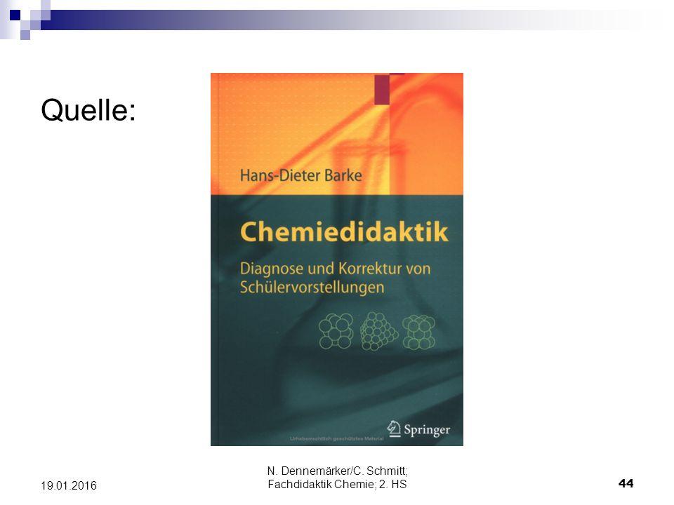 Quelle: N. Dennemärker/C. Schmitt; Fachdidaktik Chemie; 2. HS 44 19.01.2016