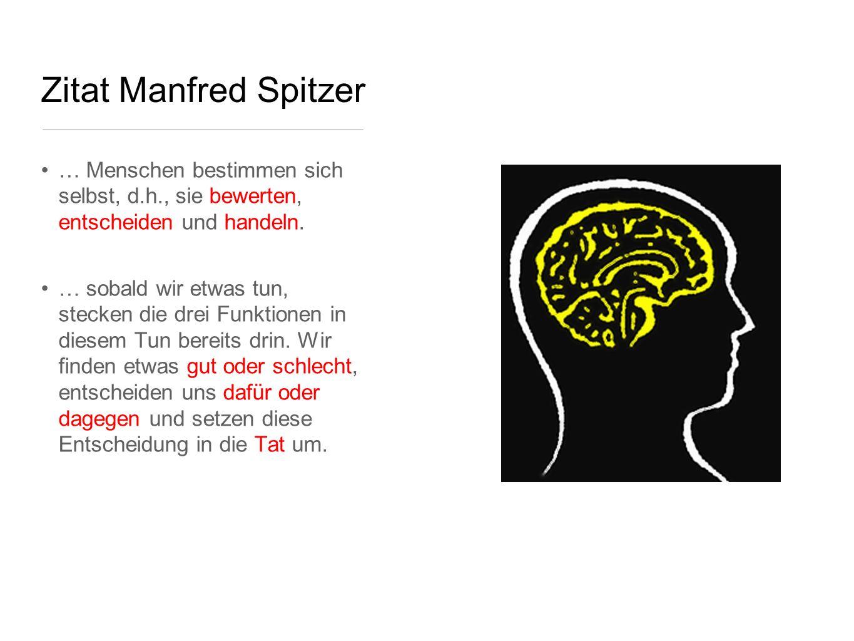 Zitat Manfred Spitzer … Menschen bestimmen sich selbst, d.h., sie bewerten, entscheiden und handeln. … sobald wir etwas tun, stecken die drei Funktion