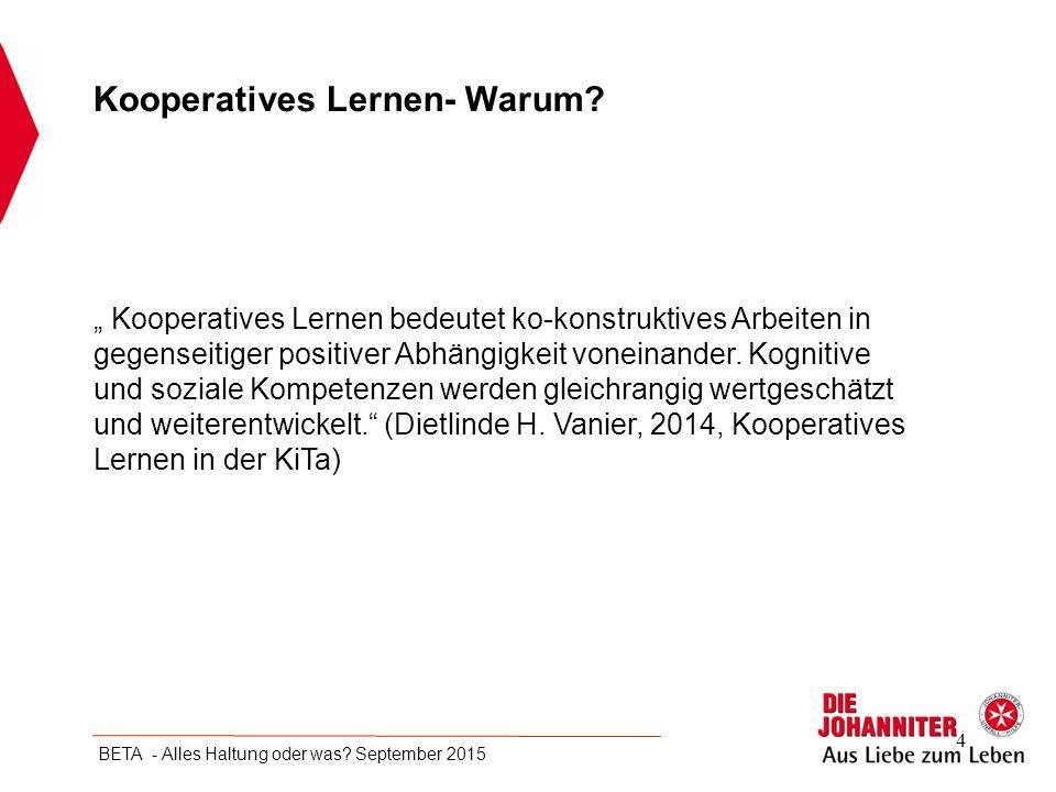 """"""" Kooperatives Lernen bedeutet ko-konstruktives Arbeiten in gegenseitiger positiver Abhängigkeit voneinander. Kognitive und soziale Kompetenzen werden"""