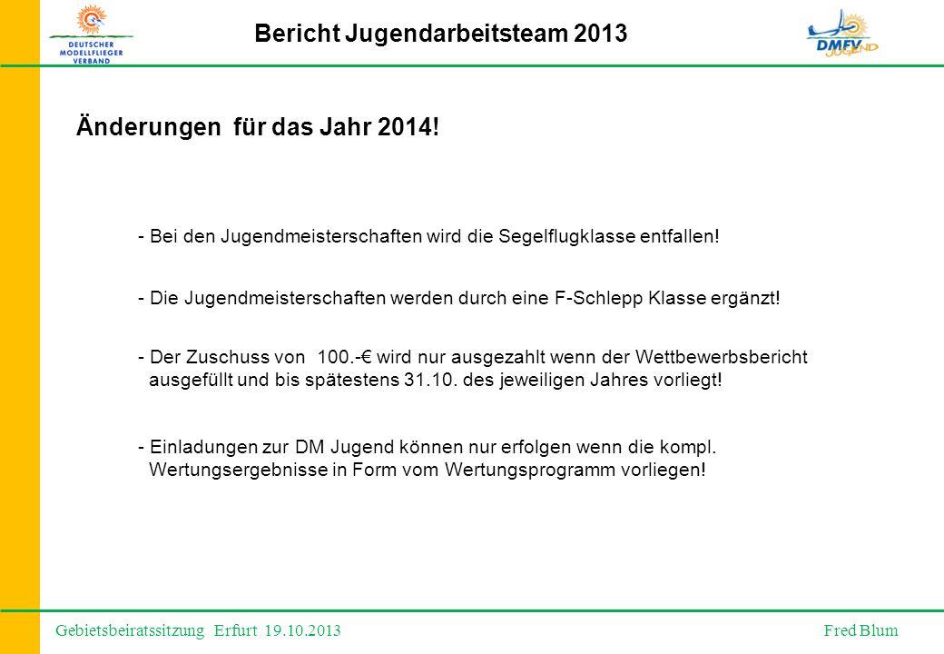 Gebietsbeiratssitzung Erfurt 19.10.2013 Fred Blum Bericht Jugendarbeitsteam 2013 Änderungen für das Jahr 2014.