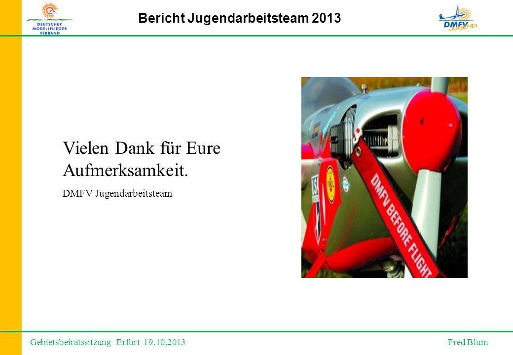 Gebietsbeiratssitzung Erfurt 19.10.2013 Fred Blum Bericht Jugendarbeitsteam 2013 Vielen Dank für Eure Aufmerksamkeit.