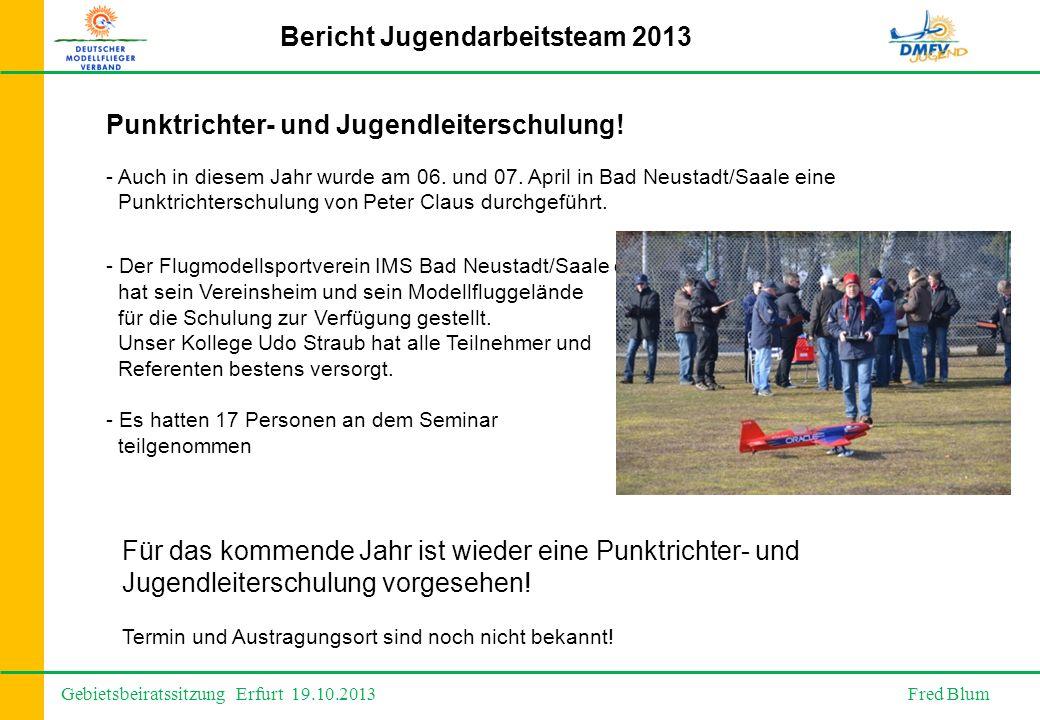 Gebietsbeiratssitzung Erfurt 19.10.2013 Fred Blum Bericht Jugendarbeitsteam 2013 - Auch in diesem Jahr wurde am 06.