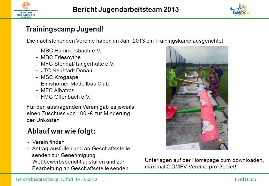 Gebietsbeiratssitzung Erfurt 19.10.2013 Fred Blum Bericht Jugendarbeitsteam 2013 - Die nachstehenden Vereine haben im Jahr 2013 ein Trainingskamp ausgerichtet: - MBC Hammersbach e.V.