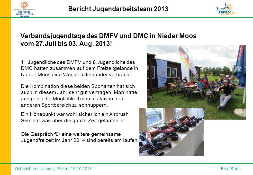 Gebietsbeiratssitzung Erfurt 19.10.2013 Fred Blum Bericht Jugendarbeitsteam 2013 Verbandsjugendtage des DMFV und DMC in Nieder Moos vom 27.Juli bis 03.