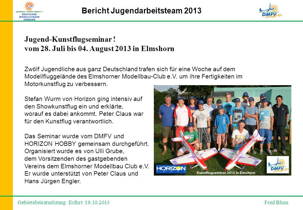 Gebietsbeiratssitzung Erfurt 19.10.2013 Fred Blum Bericht Jugendarbeitsteam 2013 Jugend-Kunstflugseminar .