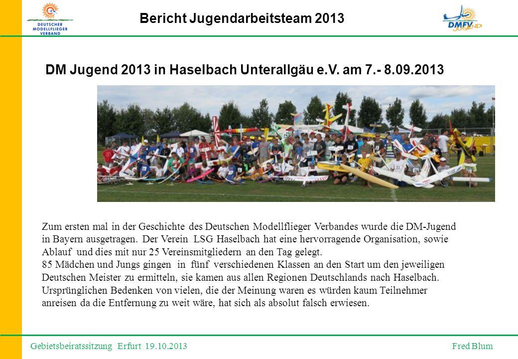 Gebietsbeiratssitzung Erfurt 19.10.2013 Fred Blum Bericht Jugendarbeitsteam 2013 DM Jugend 2013 in Haselbach Unterallgäu e.V.