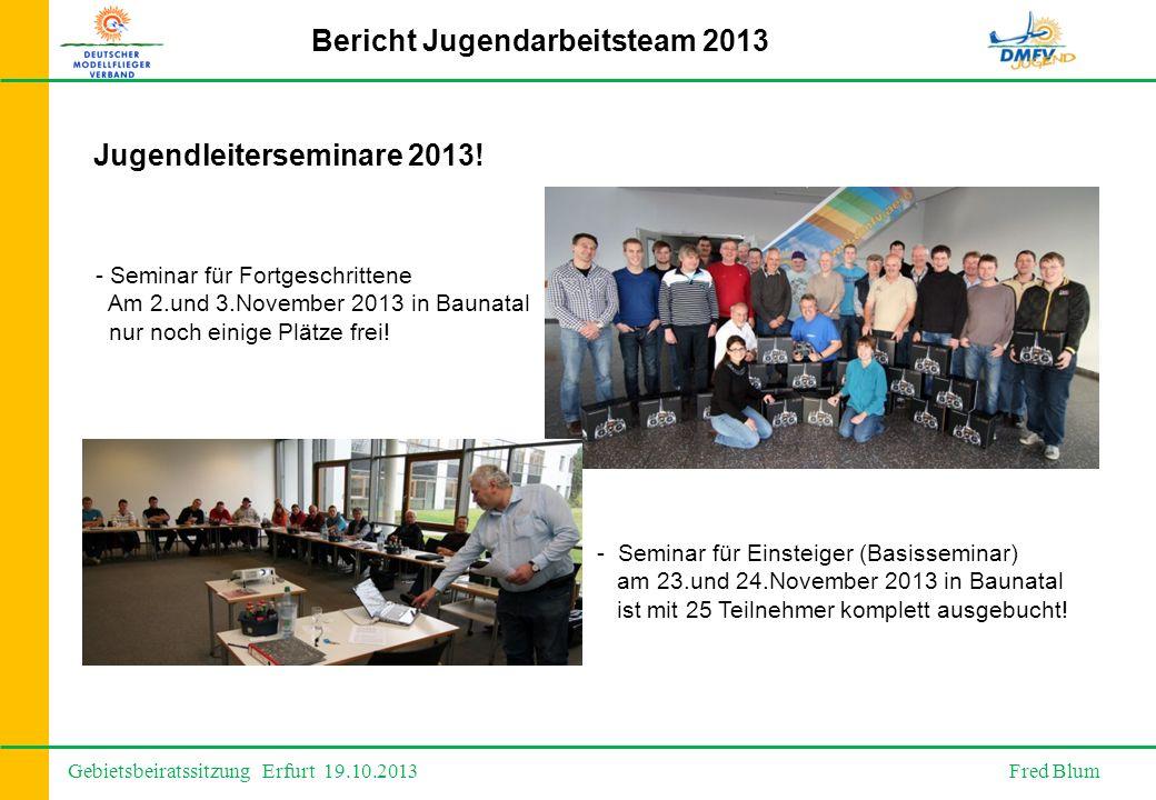 Gebietsbeiratssitzung Erfurt 19.10.2013 Fred Blum Bericht Jugendarbeitsteam 2013 Jugendleiterseminare 2013.
