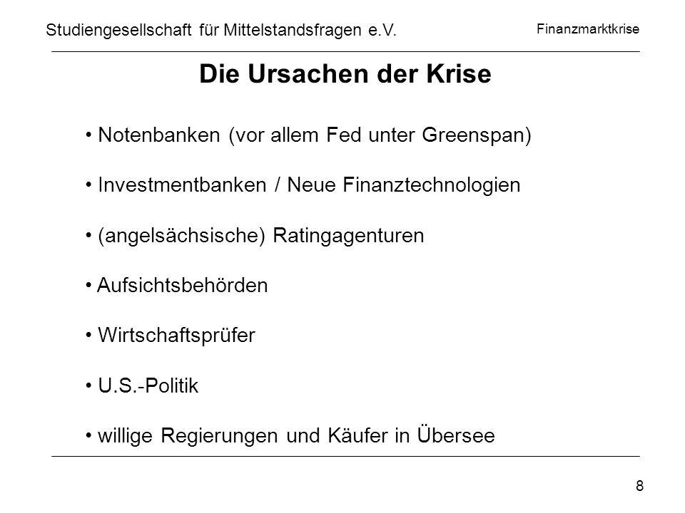 Finanzmarktkrise www.privatinvestor.de Studiengesellschaft für Mittelstandsfragen e.V. 9