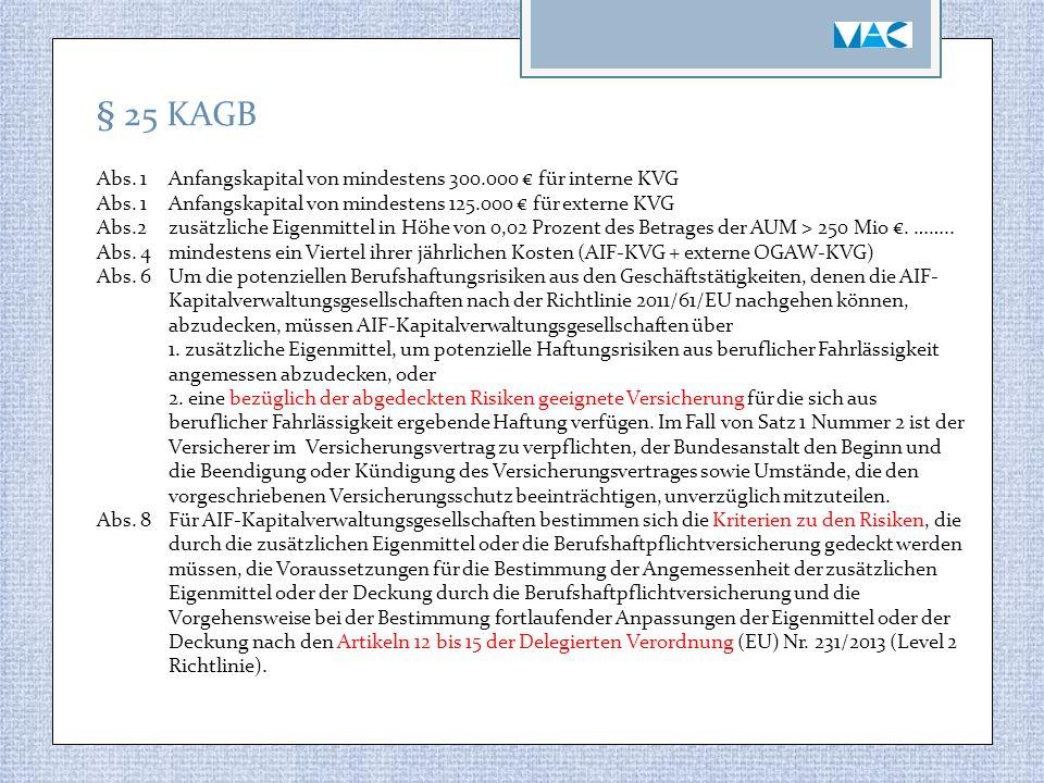 § 25 KAGB Abs. 1Anfangskapital von mindestens 300.000 € für interne KVG Abs. 1Anfangskapital von mindestens 125.000 € für externe KVG Abs.2zusätzliche