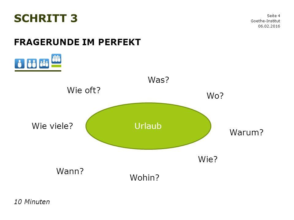 Seite 4 SCHRITT 3 06.02.2016 Goethe-Institut FRAGERUNDE IM PERFEKT 10 Minuten Urlaub Wo? Was? Wohin? Wann? Wie? Wie oft? Wie viele? Warum?