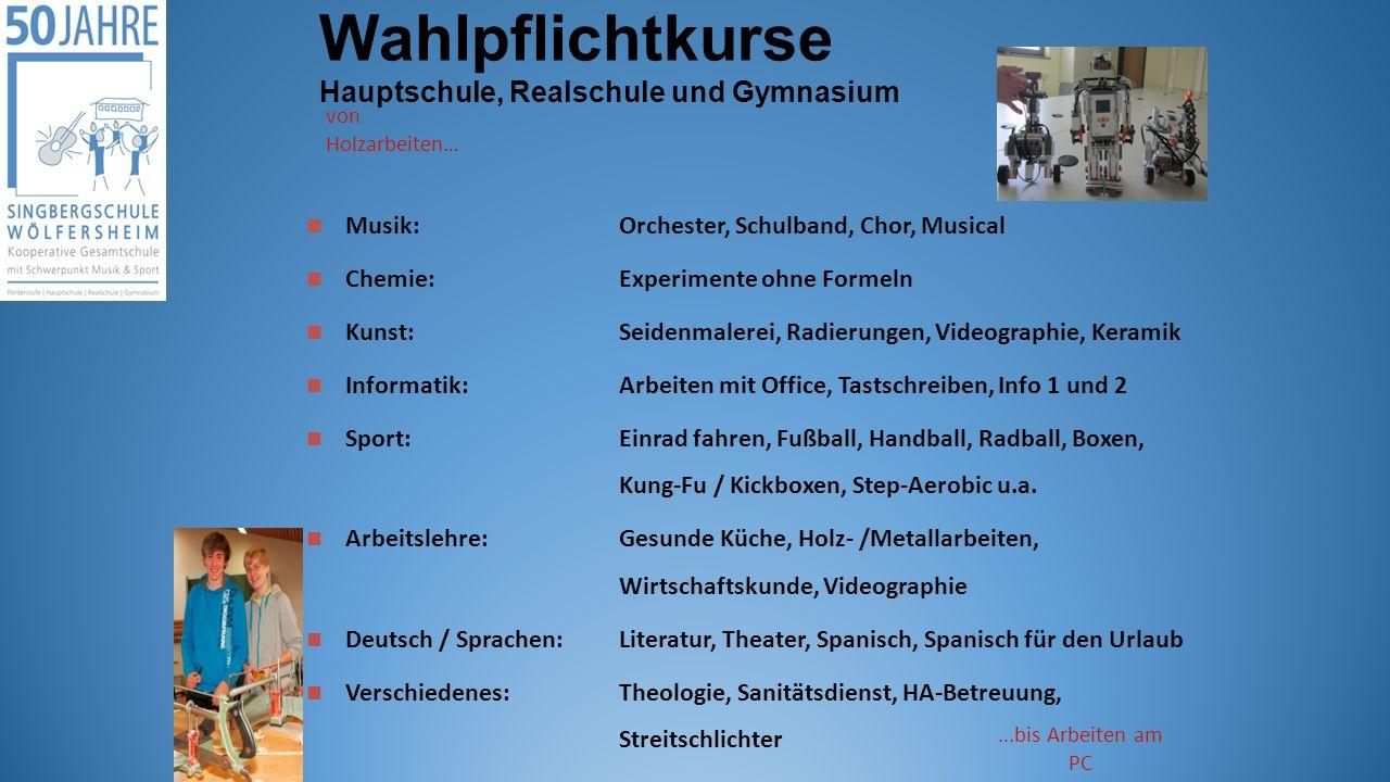 Wahlpflichtkurse Hauptschule, Realschule und Gymnasium von Holzarbeiten…...bis Arbeiten am PC Musik: Orchester, Schulband, Chor, Musical Chemie:Experi