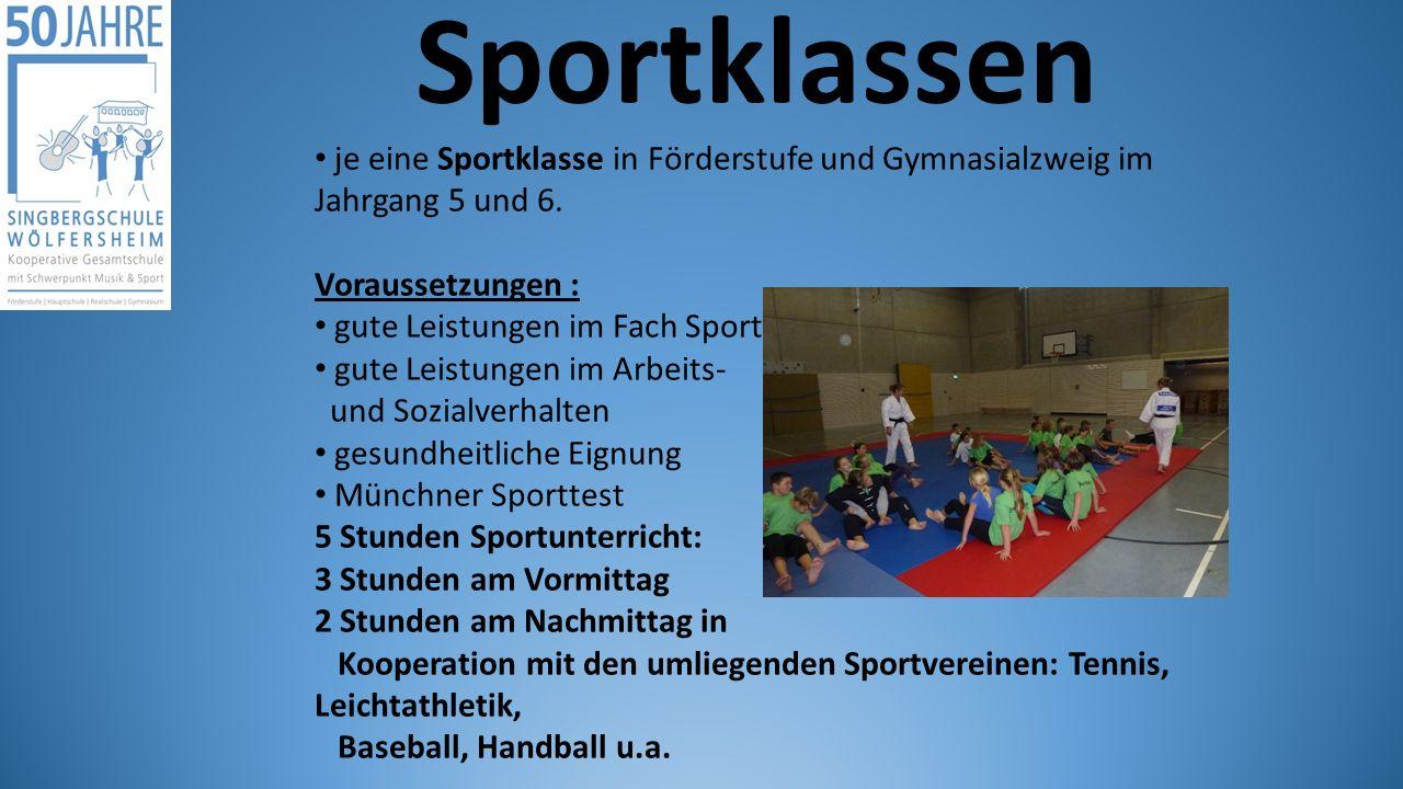Sportklassen je eine Sportklasse in Förderstufe und Gymnasialzweig im Jahrgang 5 und 6. Voraussetzungen : gute Leistungen im Fach Sport gute Leistunge