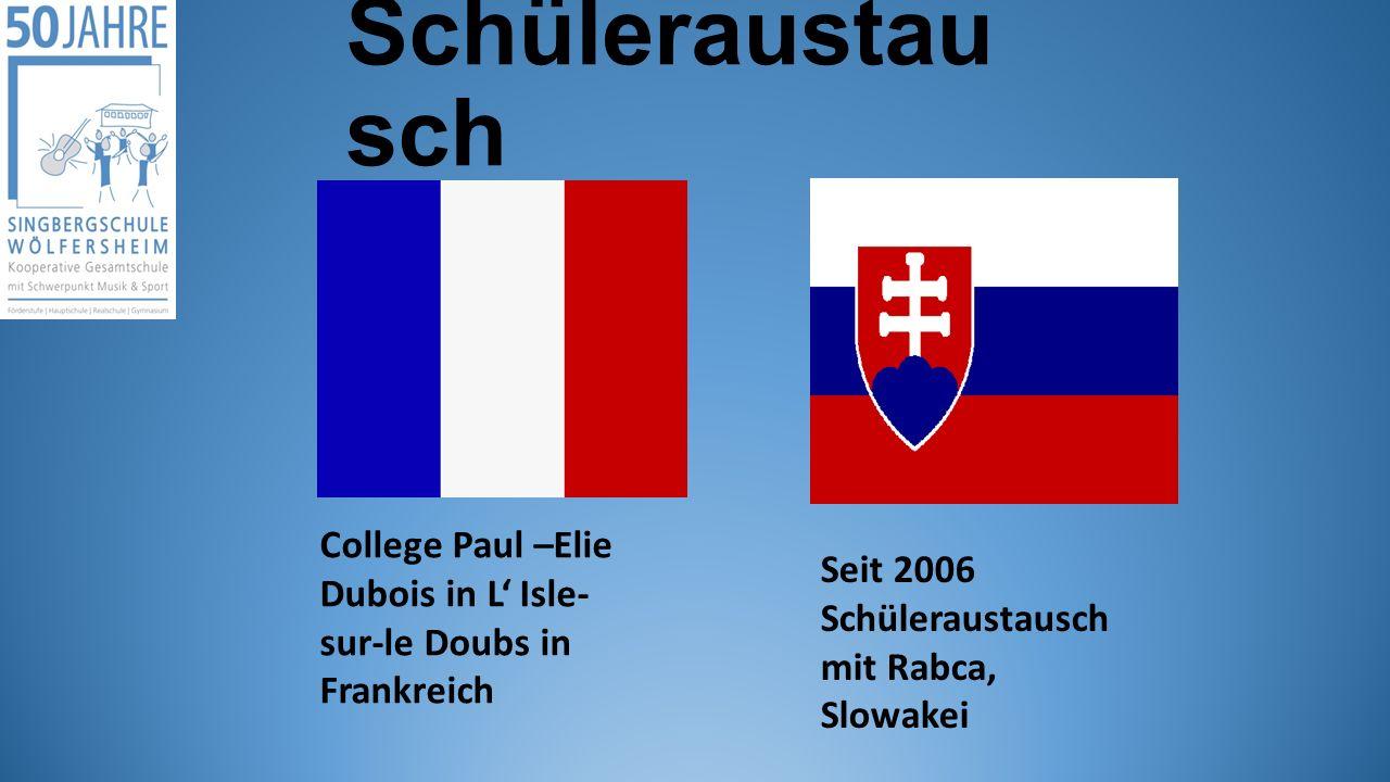 Schüleraustau sch College Paul –Elie Dubois in L' Isle- sur-le Doubs in Frankreich Seit 2006 Schüleraustausch mit Rabca, Slowakei