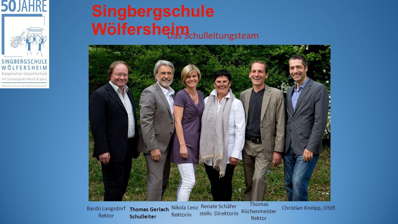 Singbergschule Wölfersheim Das Schulleitungsteam Thomas Gerlach Schulleiter Bardo Langsdorf Rektor Thomas Küchenmeister Rektor Renate Schäfer stellv.