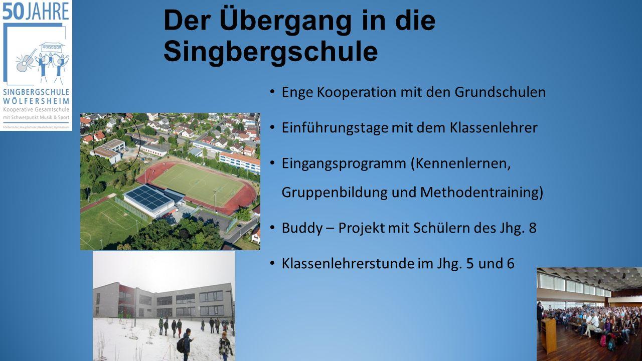 Der Übergang in die Singbergschule Enge Kooperation mit den Grundschulen Einführungstage mit dem Klassenlehrer Eingangsprogramm (Kennenlernen, Gruppen