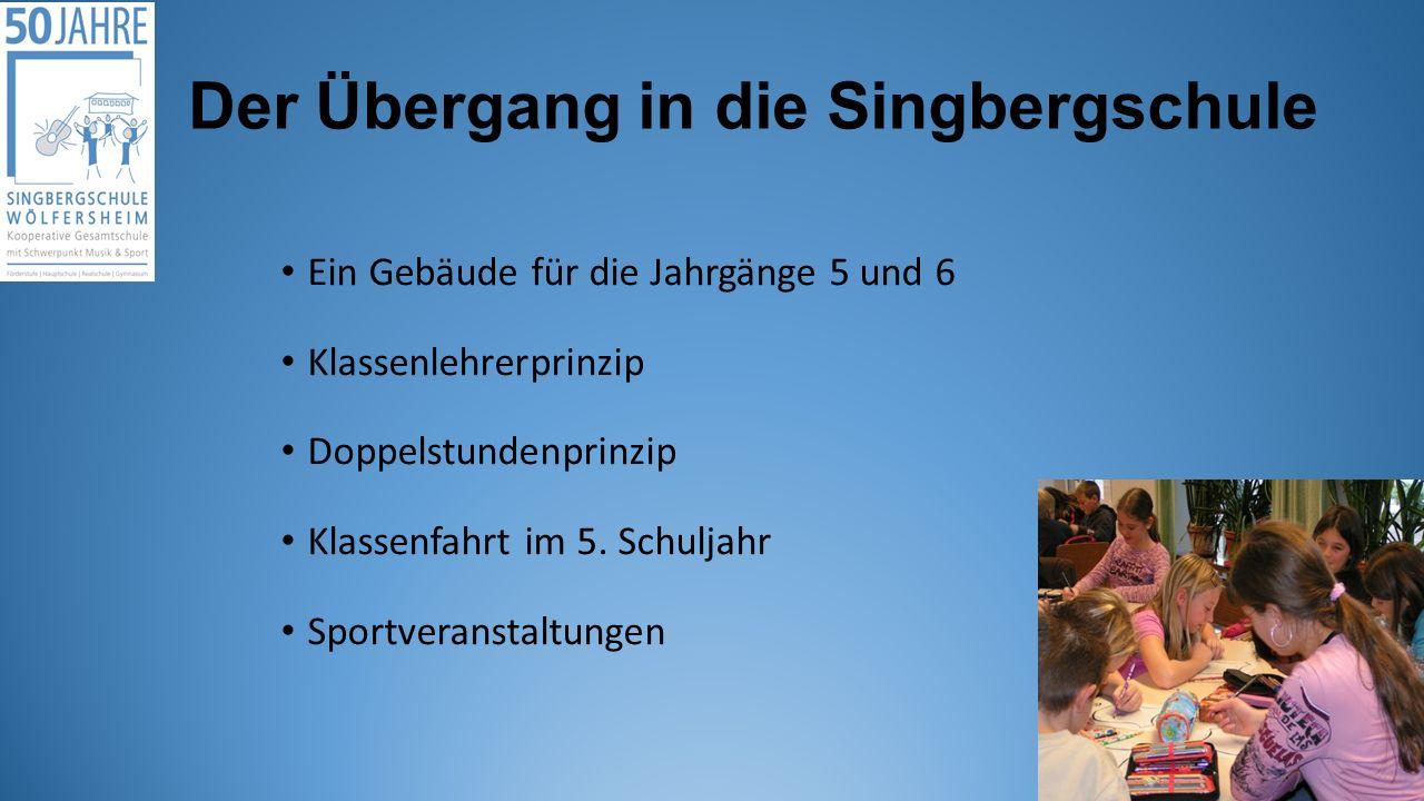 Der Übergang in die Singbergschule Ein Gebäude für die Jahrgänge 5 und 6 Klassenlehrerprinzip Doppelstundenprinzip Klassenfahrt im 5.