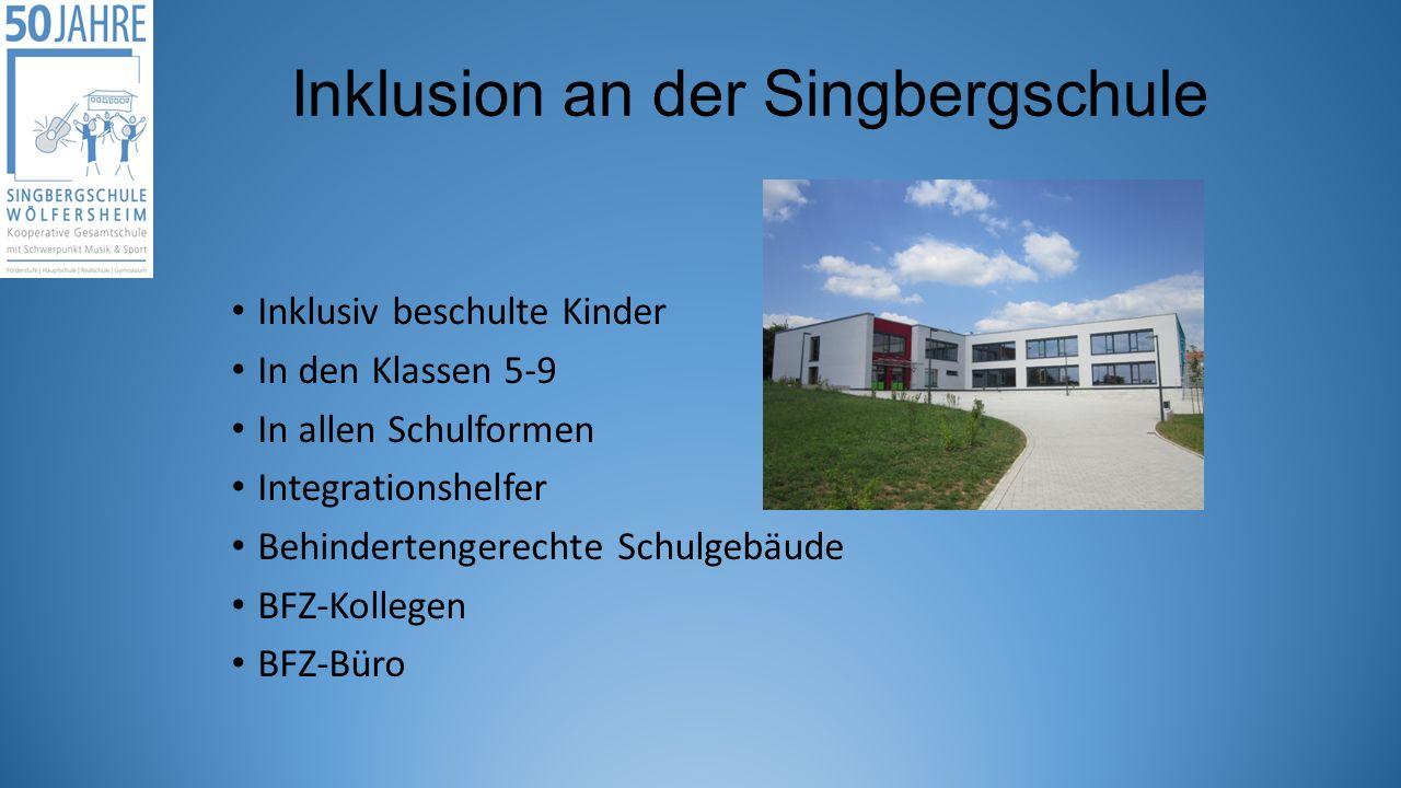 Inklusion an der Singbergschule Inklusiv beschulte Kinder In den Klassen 5-9 In allen Schulformen Integrationshelfer Behindertengerechte Schulgebäude BFZ-Kollegen BFZ-Büro