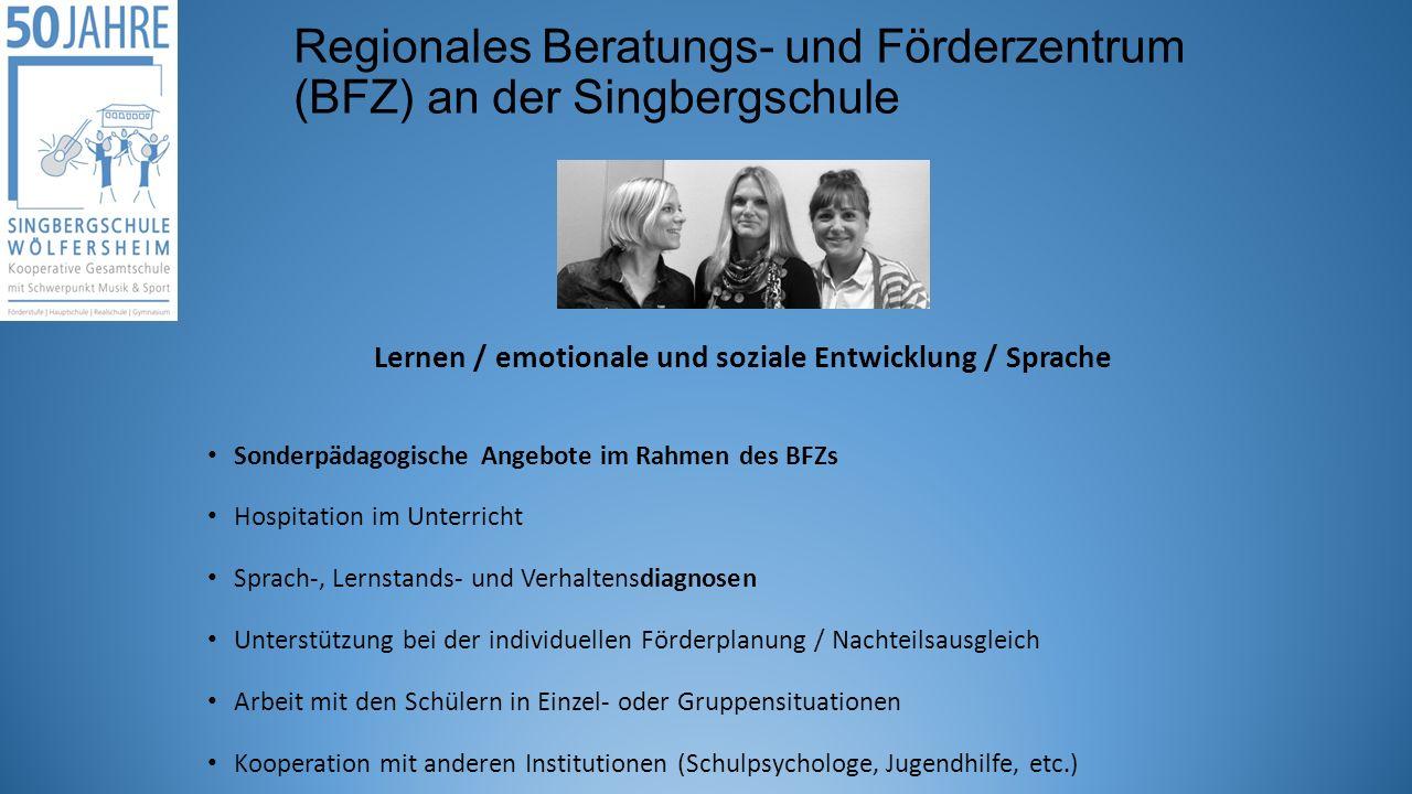 Regionales Beratungs- und Förderzentrum (BFZ) an der Singbergschule Lernen / emotionale und soziale Entwicklung / Sprache Sonderpädagogische Angebote