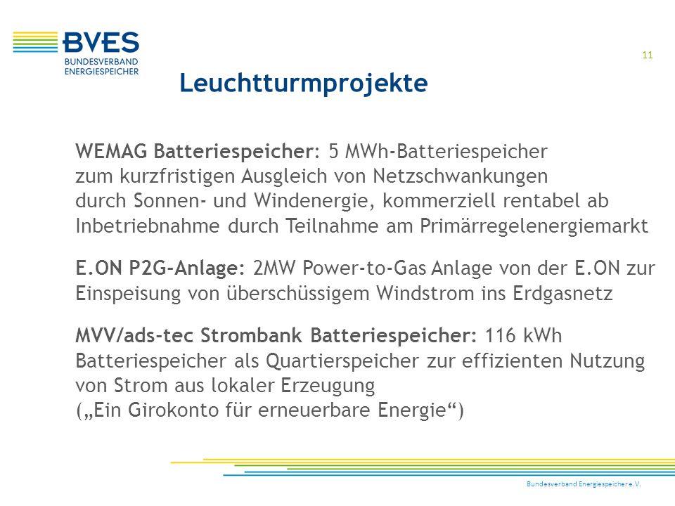 Bundesverband Energiespeicher e.V. 11 WEMAG Batteriespeicher: 5 MWh-Batteriespeicher zum kurzfristigen Ausgleich von Netzschwankungen durch Sonnen- un