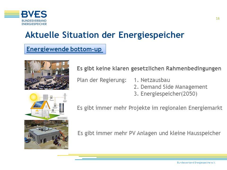 Bundesverband Energiespeicher e.V. 16 Aktuelle Situation der Energiespeicher Es gibt keine klaren gesetzlichen Rahmenbedingungen Plan der Regierung:1.