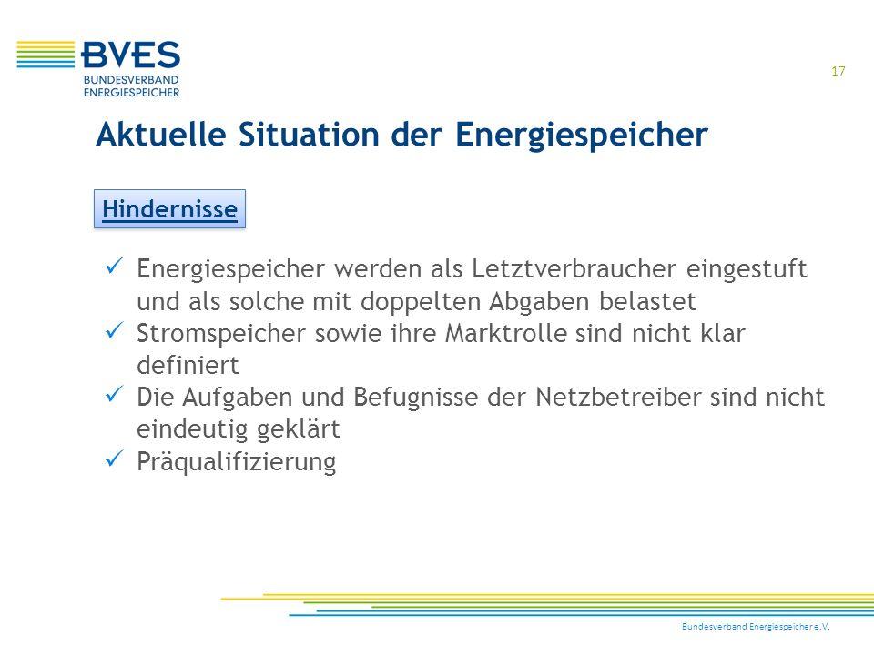 Bundesverband Energiespeicher e.V. 17 Aktuelle Situation der Energiespeicher Hindernisse Energiespeicher werden als Letztverbraucher eingestuft und al