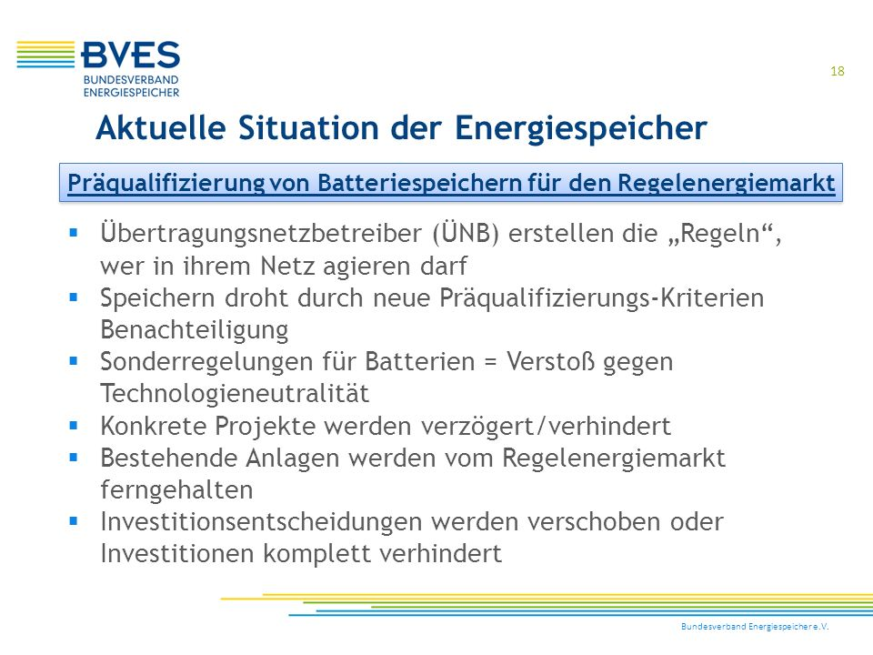 """Bundesverband Energiespeicher e.V. 18  Übertragungsnetzbetreiber (ÜNB) erstellen die """"Regeln"""", wer in ihrem Netz agieren darf  Speichern droht durch"""