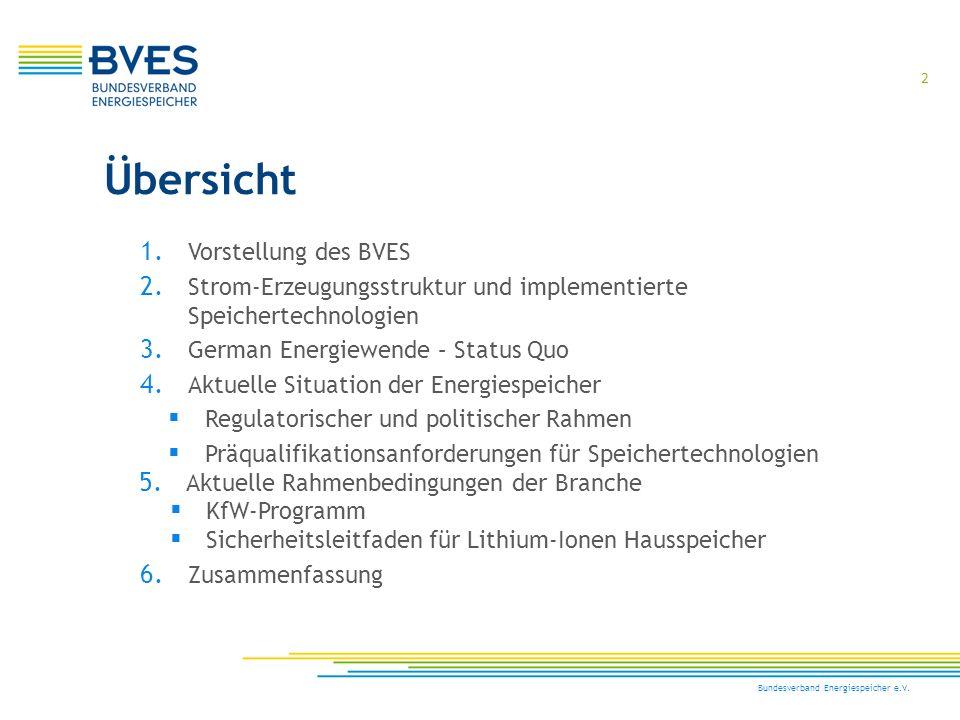 2 Bundesverband Energiespeicher e.V. Übersicht 1. Vorstellung des BVES 2. Strom-Erzeugungsstruktur und implementierte Speichertechnologien 3. German E