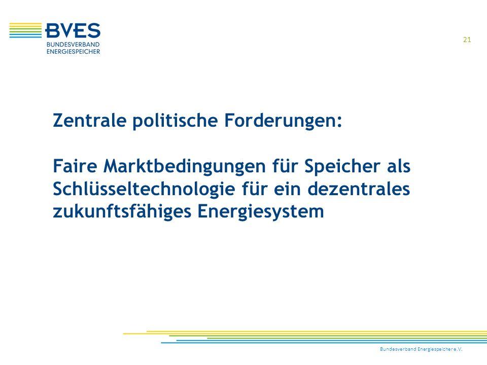 Bundesverband Energiespeicher e.V. 21 Zentrale politische Forderungen: Faire Marktbedingungen für Speicher als Schlüsseltechnologie für ein dezentrale