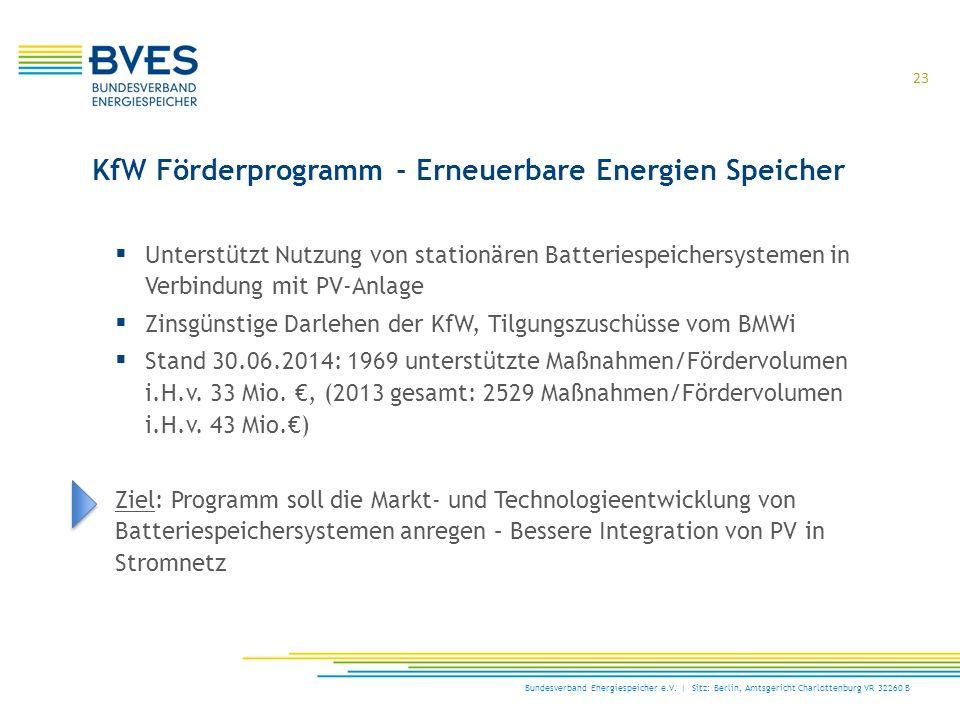  Unterstützt Nutzung von stationären Batteriespeichersystemen in Verbindung mit PV-Anlage  Zinsgünstige Darlehen der KfW, Tilgungszuschüsse vom BMWi